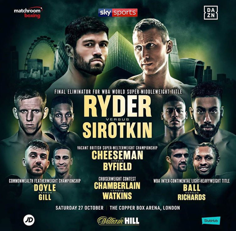 John Ryder faces Andrey Sirotkin in a final eliminator for WBA World Super-Middleweight Title