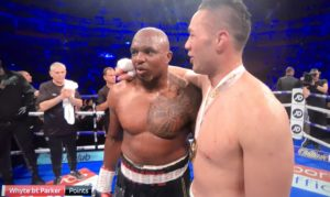 Whyte survives a late scare to beat Parker on Points