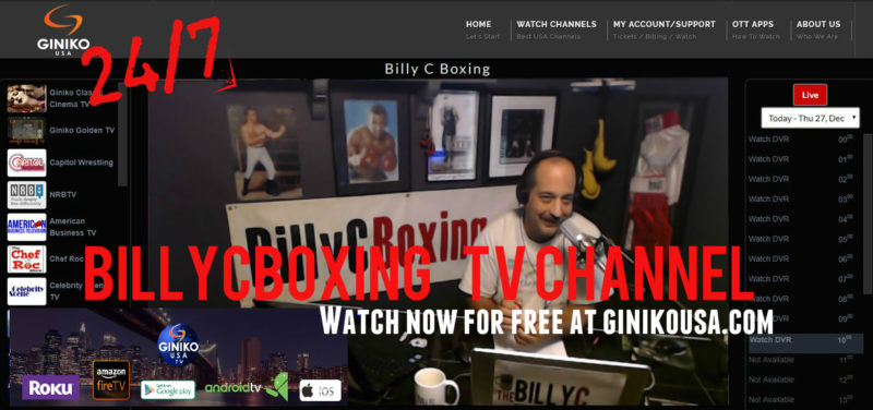 24/7 BillyCBoxing TV Channel